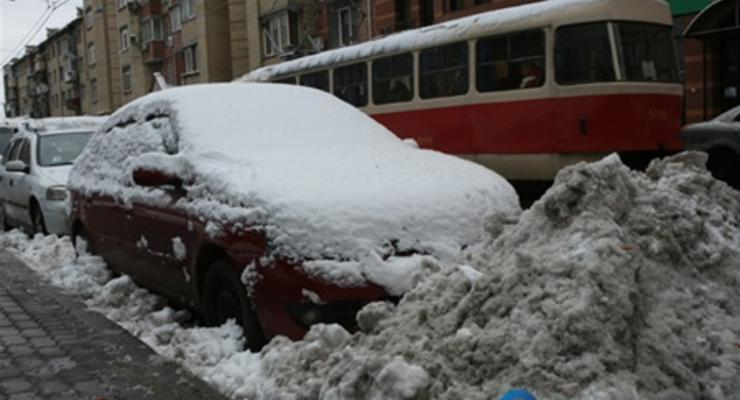 В центре Киева запретят парковаться из-за снегопада