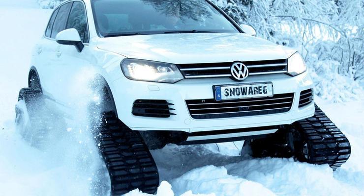 Volkswagen Touareg превратили в гусеничный вездеход