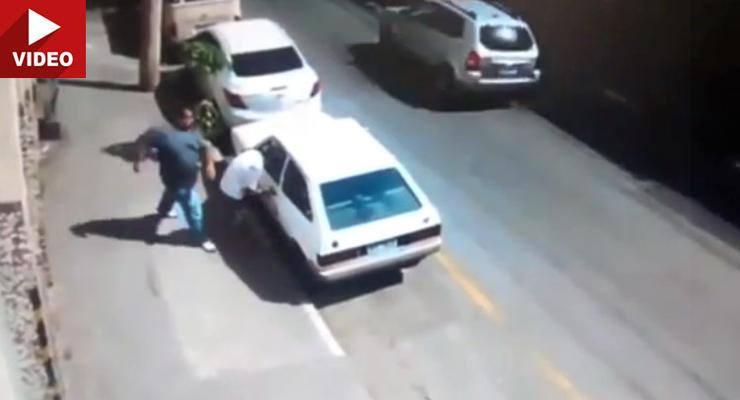 Хозяин машины поймал на горячем угонщика и отправил в нокдаун