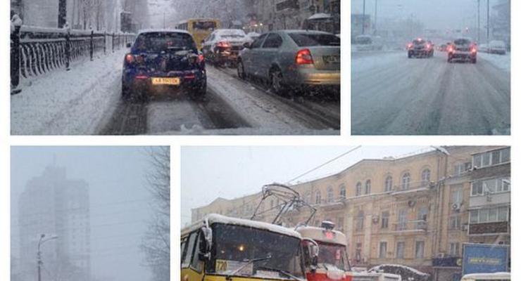Снегопад в Киеве: столица замерла в 10-балльных пробках