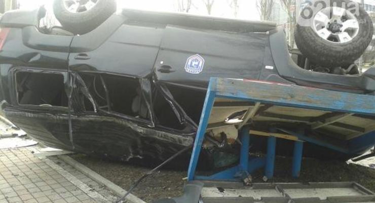 В Донецке перевернулся джип террористов (фото)