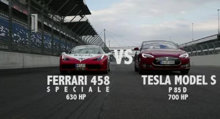 Tesla Model S сразилась на треке с Ferrari 458 (видео)