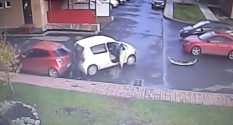 В России водитель попал в три ДТП за минуту (видео)