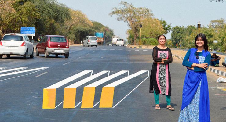 В Индии создали 3D-разметку пешеходных переходов