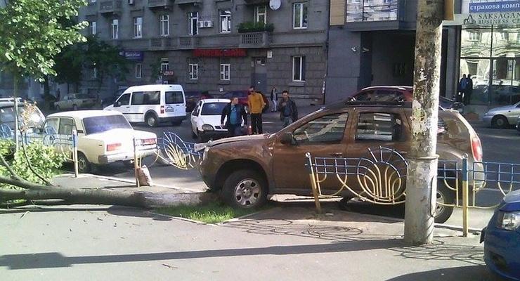 В центре Киева Renault вылетел на тротуар, сбив дерево
