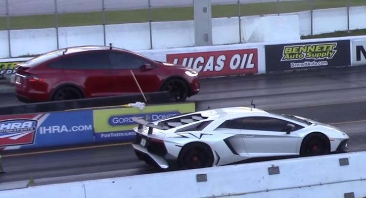 Кто кого: Tesla Model X против Lamborghini Aventador