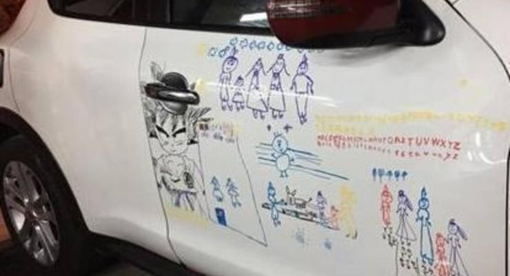 Разрисовала соседское авто: В Китае случилась очень трогательная история