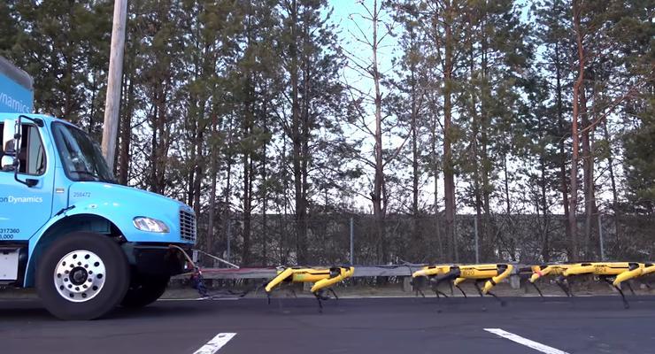 """""""Людишкам конец!"""": Роботы-псы научились работать в команде и оттащили грузовик"""