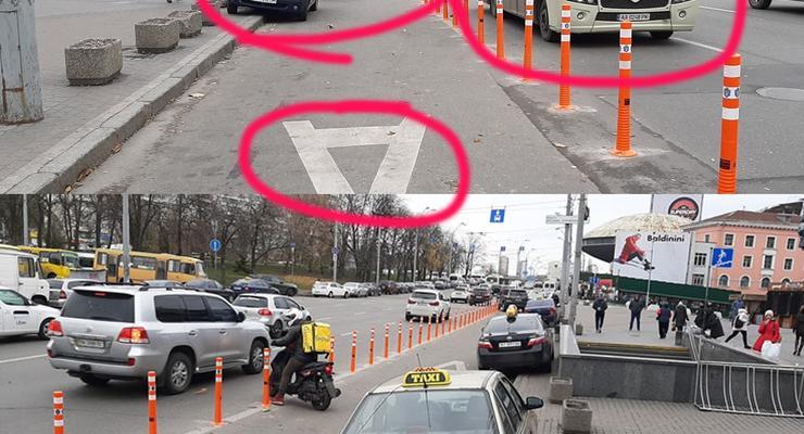 В Киеве возле Ocean Plaza установили делинеаторы - исчезли ли пробки