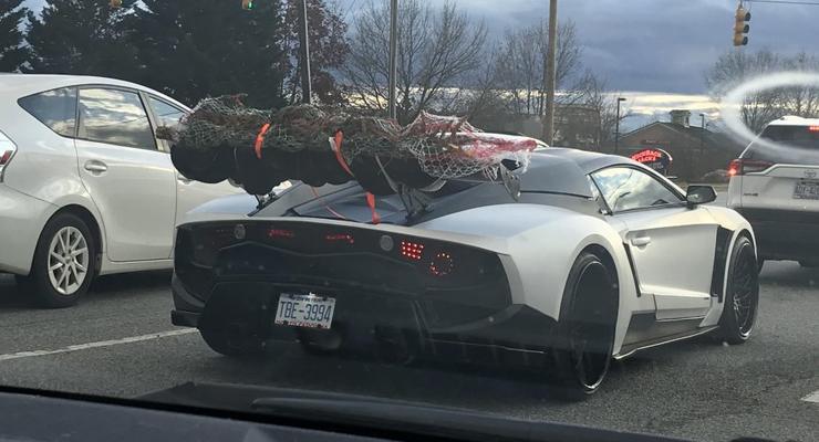 Владельца крутого суперкара засняли с огромной елкой на спойлере авто