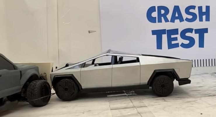 Опубликовано видео первого краш-теста пикапа Tesla Cybertruck
