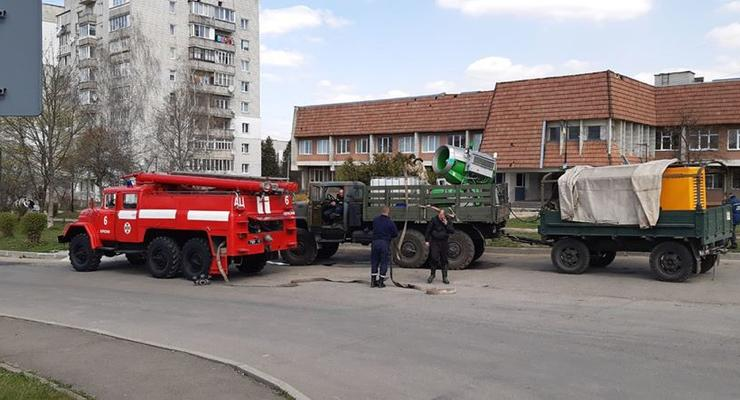 На Львовщине улицы дезинфицируют со снежной пушки